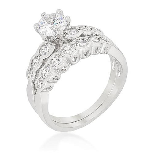 Gwendolyn 2ct CZ White Gold Rhodium Bridal Set