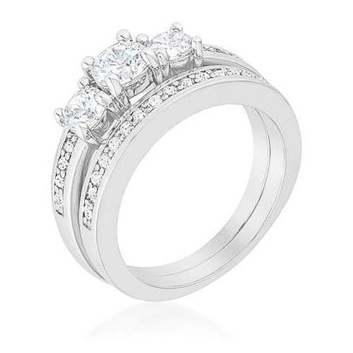 Tira 3.4ct CZ White Gold Rhodium Bridal Ring Set