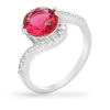 Mila 2.6ct Ruby CZ White Gold Rhodium Simple Ring