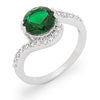 Mila 2.6ct Emerald CZ White Gold Rhodium Simple Ring