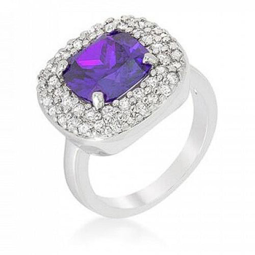 Anita 4.1ct Amethyst CZ White Gold Rhodium Cocktail Ring
