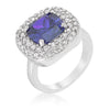 Anita 4.1ct Lavender CZ White Gold Rhodium Cocktail Ring