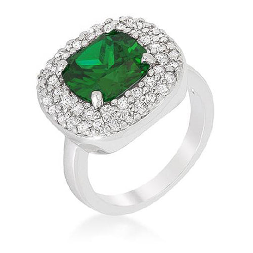 Anita 4.1ct Emerald CZ White Gold Rhodium Cocktail Ring