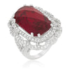 Karina 25.8ct Garnet CZ White Gold Rhodium Cocktail Ring