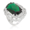 Karina 25.8ct Emerald CZ White Gold Rhodium Cocktail Ring