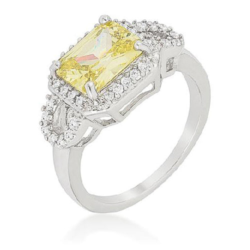 Elizabeth 3.4ct Peridot CZ White Gold Rhodium Cocktail Ring