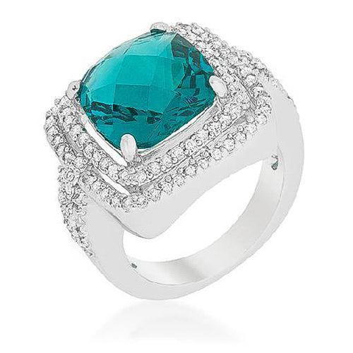 Ana 7.7ct Aqua CZ White Gold Rhodium Cocktail Ring