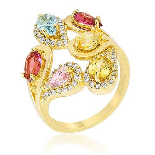 Fiorina 3.2ct Multicolor CZ Floral Cocktail Ring