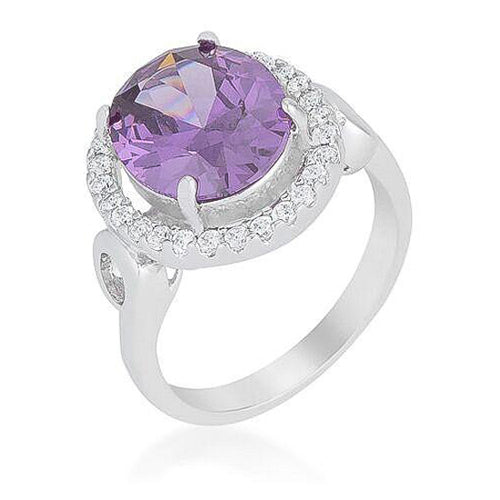 Amy 4.8ct Amethyst White Gold Rhodium Halo Cocktail Ring