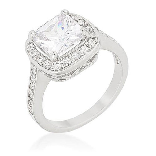Dina 2.8ct CZ White Gold Rhodium Cocktail Ring