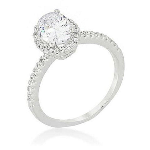 Josie 2.3ct CZ White Gold Rhodium Vintage Micro Pave Engagement Ring