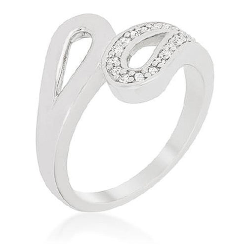Ali 0.2ct CZ White Gold Rhodium Abstract Ring