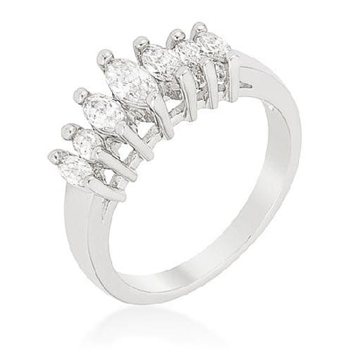 Gloria 0.4ct CZ White Gold Rhodium Graduated Marquise Anniversary Band