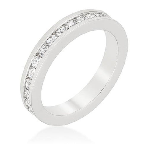 Charlene 3.5ct CZ White Gold Rhodium Eternity Band