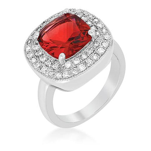 Bernadette 4.1ct Garnet CZ White Gold Rhodium Classic Cocktail Ring
