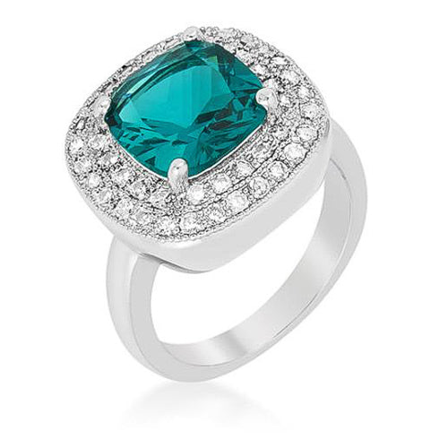 Bernadette 4.1ct Aqua CZ White Gold Rhodium Classic Cocktail Ring