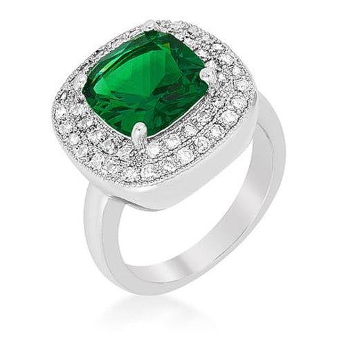 Bernadette 4.1ct Emerald CZ White Gold Rhodium Classic Cocktail Ring