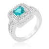 Maria 8.5ct Aqua CZ White Gold Rhodium Classic Ring