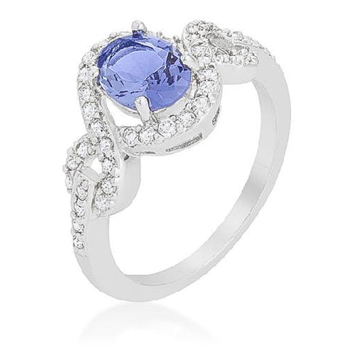 Tara 2.9ct Tanzanite CZ White Gold Rhodium Cocktail Ring