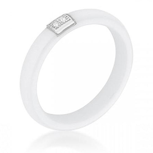 Wanda 0.02ct CZ White Ceramic Band