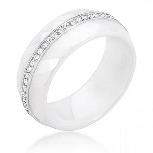 Christina 0.5ct CZ Sterling Silver White Ceramic Band