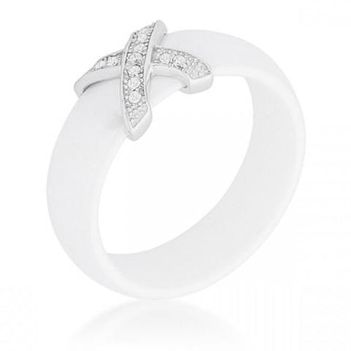 Mara 0.16ct CZ Sterling Silver White Ceramic Band