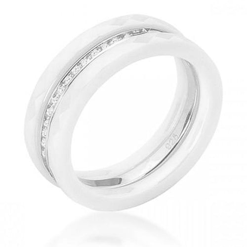 Trini 0.2ct CZ Sterling Silver White Ceramic Ring Set