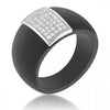 Carolee 0.5ct CZ Sterling Silver Black Ceramic Cocktail Ring