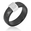 Bonnie 0.2ct CZ Sterling Silver Black Ceramic Band Ring