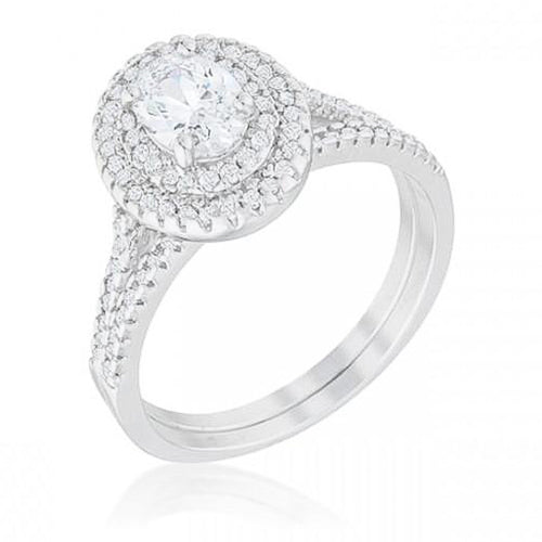 Olivia 2ct CZ White Gold Rhodium Wedding Ring Set