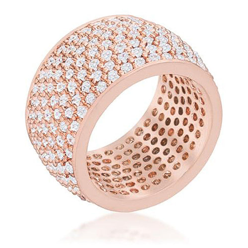 Andrea 3ct CZ Rose Gold Wide Pave Band