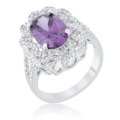 Amelia 8.5ct Amethyst CZ White Gold Rhodium Oval Classic Ring