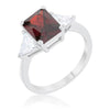 Cara Classic 4.5ct Garnet CZ White Gold Rhodium Engagement Ring