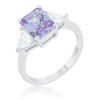 Cara Classic 4.5ct Lavender CZ White Gold Rhodium Engagement Ring