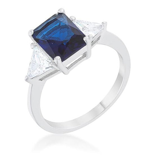 Cara Classic 4.5ct Sapphire CZ White Gold Rhodium Engagement Ring