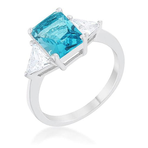 Cara Classic 4.5ct Blue Topaz CZ White Gold Rhodium Engagement Ring