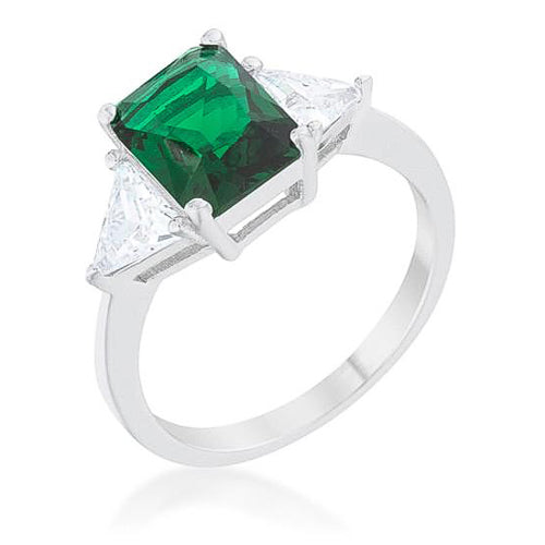 Cara Classic 4.5ct Emerald CZ White Gold Rhodium Engagement Ring