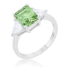 Cara Classic 4.5ct Peridot CZ White Gold Rhodium Engagement Ring