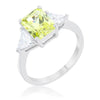 Classic Peridot Rhodium Engagement Ring [ clone ]