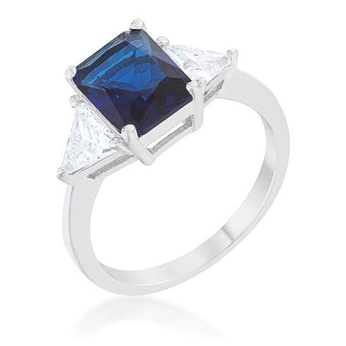 Cara Classic 4.5ct Sapphire CZ Sterling Silver Engagement Ring