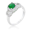 Liz 1.1ct Emerald CZ White Gold Rhodium Classic Ring