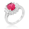 Chrisalee 3ct Ruby CZ White Gold Rhodium Classic Ring