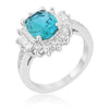 Chrisalee 3ct Aqua CZ White Gold Rhodium Classic Ring