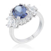 Krizia 4.2ct Tanzanite CZ White Gold Rhodium Classic Ring