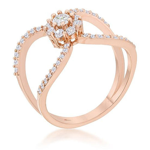 Joyce 0.4ct CZ Rose Gold Delicate Floral Wrap Ring