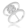 Lauren 0.4ct CZ White Gold Rhodium Delicate Clover Wrap Ring