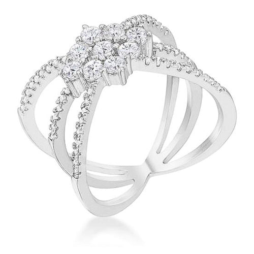 Mindy 0.8ct CZ White Gold Rhodium Delicate Triple Wrap Ring