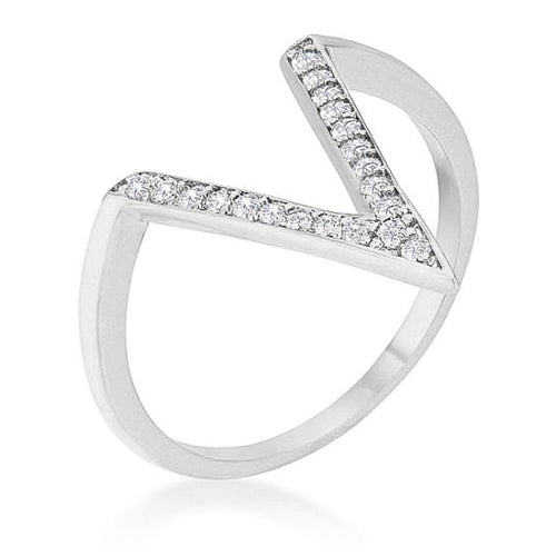 Michelle 0.2ct CZ White Gold Rhodium Delicate V-Shape Ring