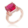 Charlene 6.2ct Ruby CZ Rose Gold Classic Statement Ring