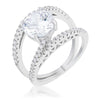 Girana 3ct Clear CZ Rhodium Contemporary Ring